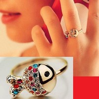 Colorful Crystal Fish Ring