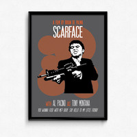 Scarface Poster Tony Montana Print Quote - Say Hello To My Little Friend - Art Print, Multiple Sizes - 8x10 to 24x36 - Modern Style Minimal