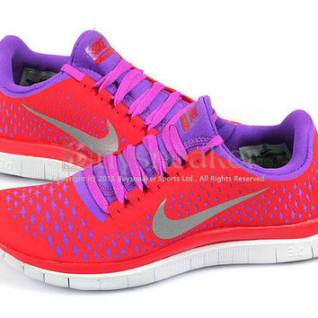 Nike Wmns Free 3.0 V4 Hyper Red/Reflect Silver Pink-Purple Running 511495-606