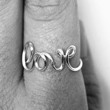 Wire Love Ring, Word Rings, Love Jewelry, Dainty Ring, Bridesmaid Jewelry, Love Ring, Weddings, Non-Tarnish Silver