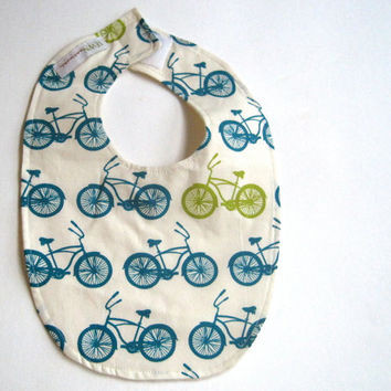 BABY BIB Organic Bicycles in the City for Boys Girls Kitchen Food - Eco Friendly Teething Bib