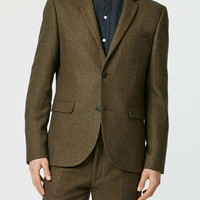 Dark Green Wool Blend Skinny Fit Suit Jacket - New In