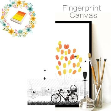 funlife Fingerprint Wall Sticker Retro Bike Wedding Decoration Baby Shower Guest Book Creative Wall Paper New Home Decoration