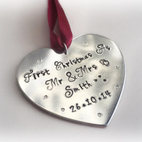 First christmas as Mr & Mrs newlyweds heart personalised christmas ornament keepsake