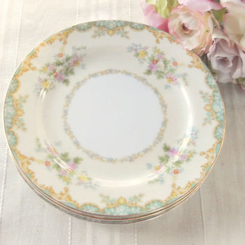 Vintage Noritake Jasmine Salad Plates, Set of 3, Tea Party for 3, Cottage Chic, Wedding, Replacement China