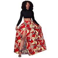 Red Floral Printed High Split Maxi Skirt