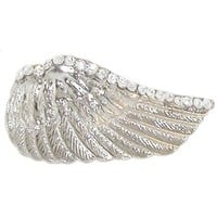 Nickel Free Curved Wing Ring with Swarovski Crystal Edging, Adjustable Band, in Silver Tone