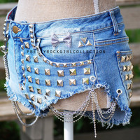Custom Distressed Studded spike  denim shorts by PrettyRockGirl