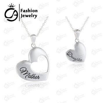 Best Quality 2 Piece Mother and Daughter Heart Cutout Matching Necklace Jewelry  #LN1033