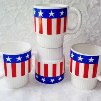Vintage Stars & Stripes USA American Flag Ceramic Coffee Mugs Set 4 Stackable 7 oz Patriotic Cups Made Japan Kitchen Serve Home Decor Estate