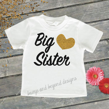 Big Sister Shirt Little Sister Shirt Sibling Shirts Gold Glitter Baby Announcement Shirt Photo Prop Pregnancy Announcement Shirt 037
