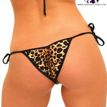 Tie Side Leopard Print Scrunch Bottom Panties