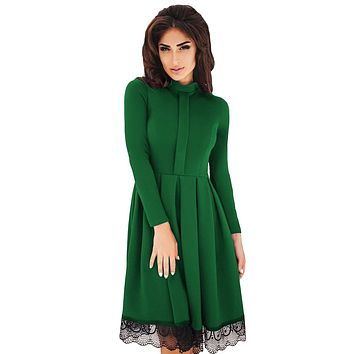 Chicloth Lace Hemline Detail Green Long Sleeve Skater Dress