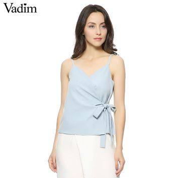 elegant bow design camis tank tops sleeveless backless shirts ladies fashion slim brand tops blouses