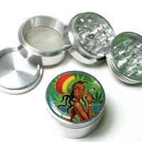 "2"" Diameter Rasta Girl One Love BoB Marley 4 Parts Alumium Herb Tobacco Grinder shipping from USA"