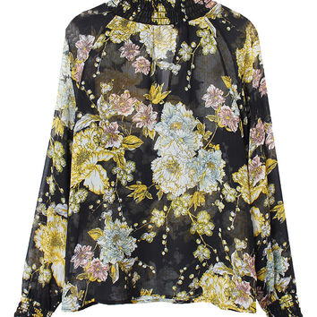 Women Long Sleeve Half High Collar Floral Printed Chiffon Blouse