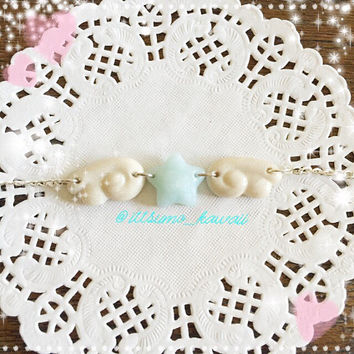 Handmade to Order Blue Ice Quartz Polymer Clay Star with Kawaii Wings Choker Necklace