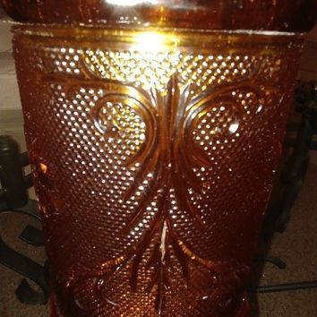 "Vintage 11"" Amber Depression Glass Cookie Jar (Tiara Pattern)"