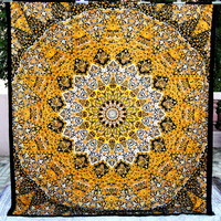 PSYCHEDELIC star mandala tapestry wall hanging hippie bohemian boho bedding bedspread Bed cover ethnic home decor yellow elephant handmade
