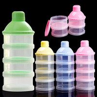 Portable Baby Infant Container 4 Cells Grid Feeding Milk Powder Food Bottle HU