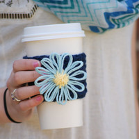 Coffee Cup Cozy / Forget-Me-Not