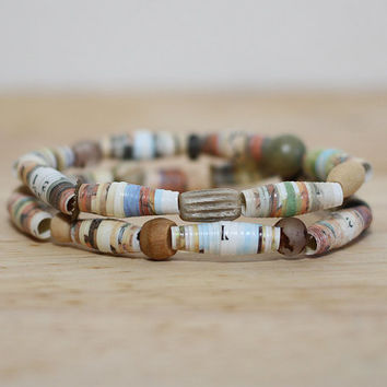 "Mocha Brown Recycled Paper Bead Bracelet Set, Made With ""The Cowboy and the black eyed pea"""