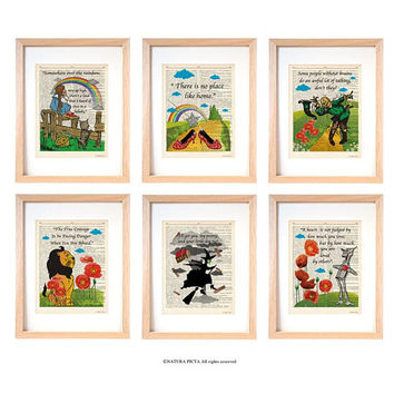 Wizard of Oz set of 6 prints-Wizard of Oz print-Wizard of Oz dictionary print-nursery print-Oz decor-children wall art-dorm decor-DP260