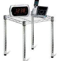 Honey-Can-Do SHF-01504 Commercial Side Table Small Wire Chrome Night Stand