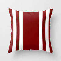 Football Stripes: Maroon and White Throw Pillow by Kat Mun