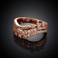 Three Flow Line Rose Gold Plated Ring
