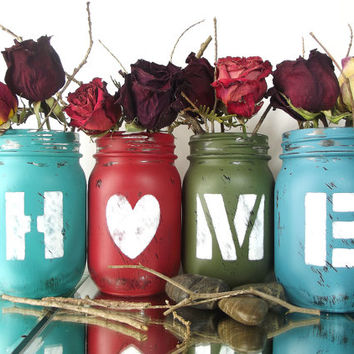 HOME, set of Four (4), Hand Painted Mason Jars | Rustic - Style Home Decor -- Colorful, Pint Mason Jars