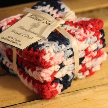 Cotton Washcloth, Crochet washcloth, Red Washcloth, Blue Washcloth, Handmade Washcloth, Cotton Dishcloth, Crochet Dishcloth, Patriotic
