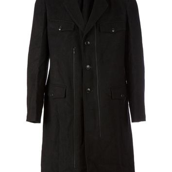 Yohji Yamamoto zip detailing detachable collar button down coat