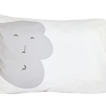 Kisses Good Night Pillow  Wind grey by ColetteBream on Etsy