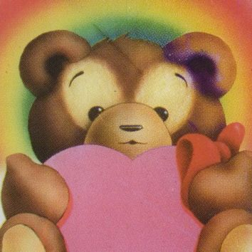 Kitschy 70s 80s Glass Collectible Carnival Prize in Cardboard Frame Bear Holding a Heart with Rainbow Halo Valentines Day Gift