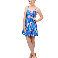 Blue & Purple Nautical Jellyfish Sweetheart Flare Dress