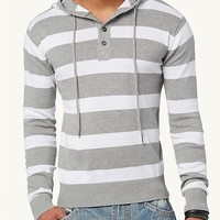 Striped Henley Sweater Hoodie
