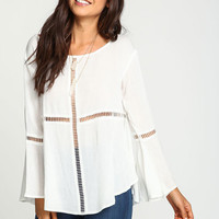 IVORY CUT OUT BELL CREPE TOP