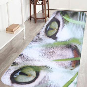 Cat Print Antislip Flannel Bathroom Rug