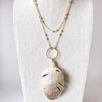 Palm Tree Abalone Pendant + Satellite Chain Long Necklace