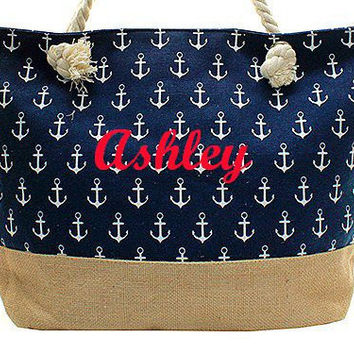Monogrammed Navy Anchor Nautical Tote Bag  Monogrammed Beach Bag Personalized Tote Bag Monogrammed Tote Bag  Monogrammed Bag