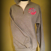 Circle Applique' Monogrammed Ladies QUARTER ZIP PULLOVER