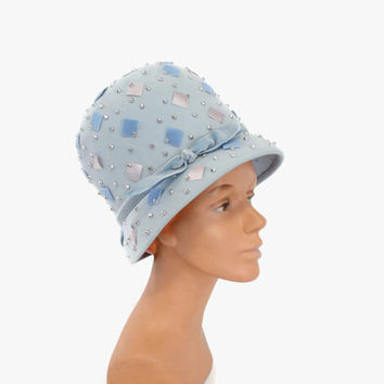 60s Mr John Studded Pale Blue BEEHIVE HAT / 1960s Tall Statement Hat with Studs & Bow
