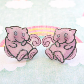 Mew Pokemon Earrings, Shrink Plastic, Video Game Jewelry, Anime Studs,Glitter Coating Option, Hypoallergenic, Made to Order