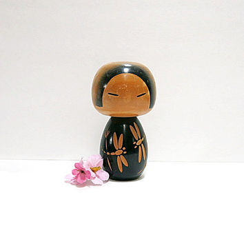 Vintage Japanese Kokeshi Doll Dragonfly Incised Design Black Dress 1960s Wood Figurine