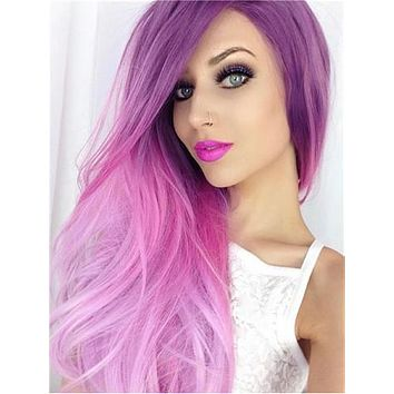 Long Purple Pink Blend Ombre Wave Synthetic Lace Front Wig