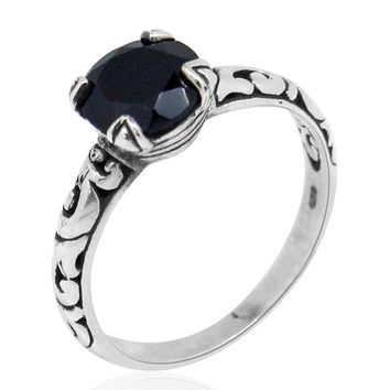 Artisan Black Spinel Sterling Silver Ring