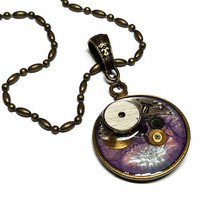 Purple and Blue Steampunk Cosplay Necklace - Steampunk Necklace with Purple and Blue Paint - Abstract Steampunk Pendant