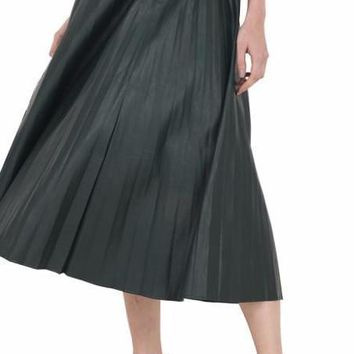 New Autumn Winter Faux Leather Pleated Skirt Green Black Winered