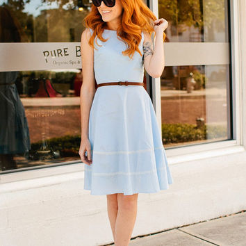 COQUETTE CORNFLOWER - Light pastel blue cotton dress // pockets // flared circle skirt // ivory lace // bridesmaid // vintage inspired
